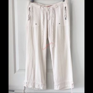 Joy Jeans Linen Capri Pants Low Rise Straight Leg
